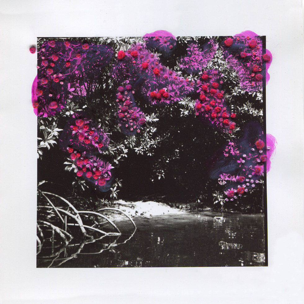 River Bank II, Textile on Photograph, 2021