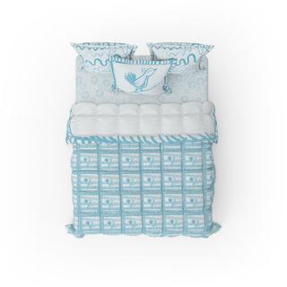 Blue Bird Patterned Bed Linen