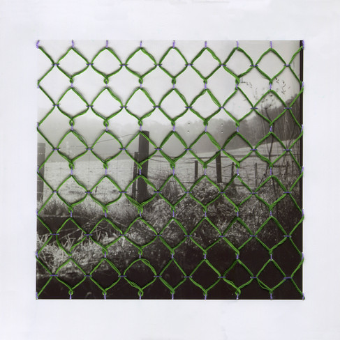 Fencing, Textile on Photograph, 2021