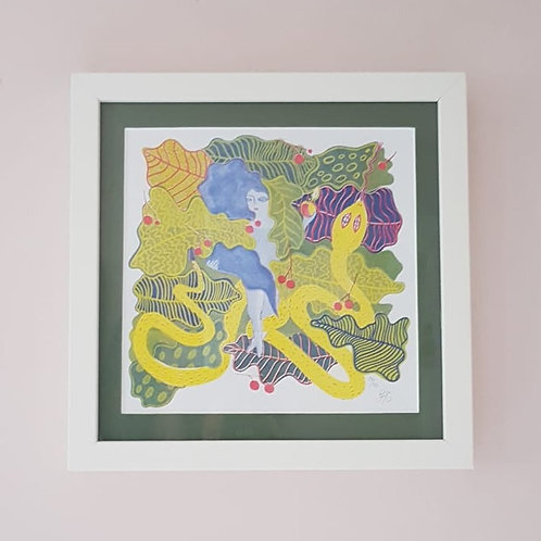 Framed Eve & The Serpent Riso Print