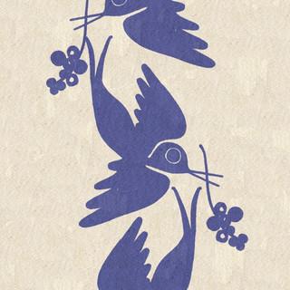 Screenprinted Swallows on Cotton