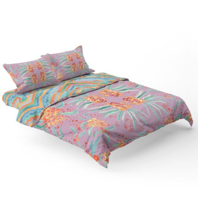Printed Floral Pattern Bed Spread