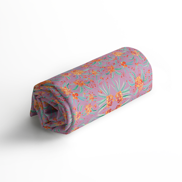 Roll of Printed Fabric in Floral Rowan Berry Pattern