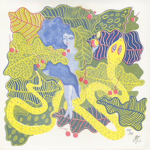 Eve & The Serpent Riso Print