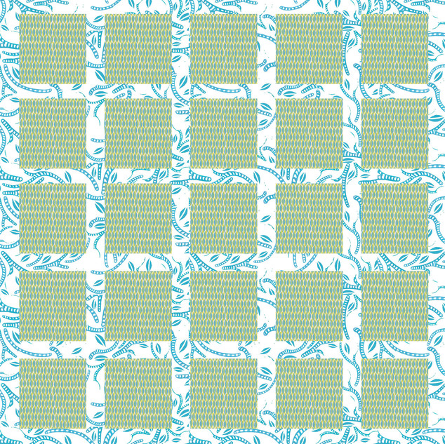 Green & Blue Squares Pattern