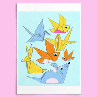 Origami Characters Illustration by HC GORDON