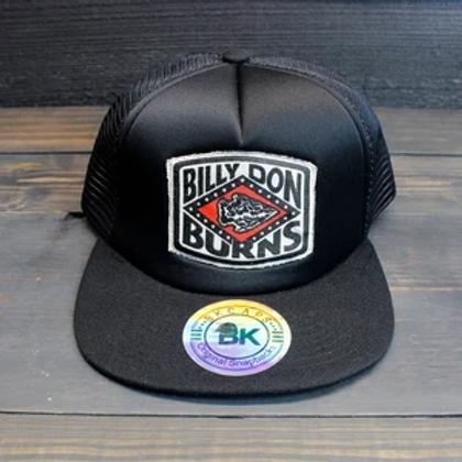 FLAT BILLED TRUCKER HAT - BLACK