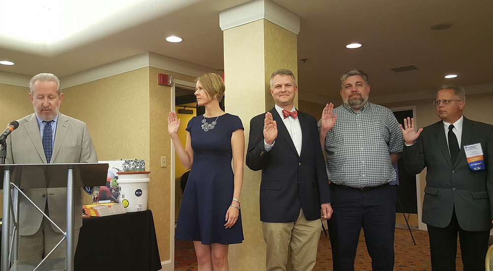 PENC Executive Committe members are sworn-in during 2016 Induction Ceremony. From left, Susan Habina Woolard, PE, Nathan Epling, PE, Paul Shivers, PE, and Tom Bach, PE.
