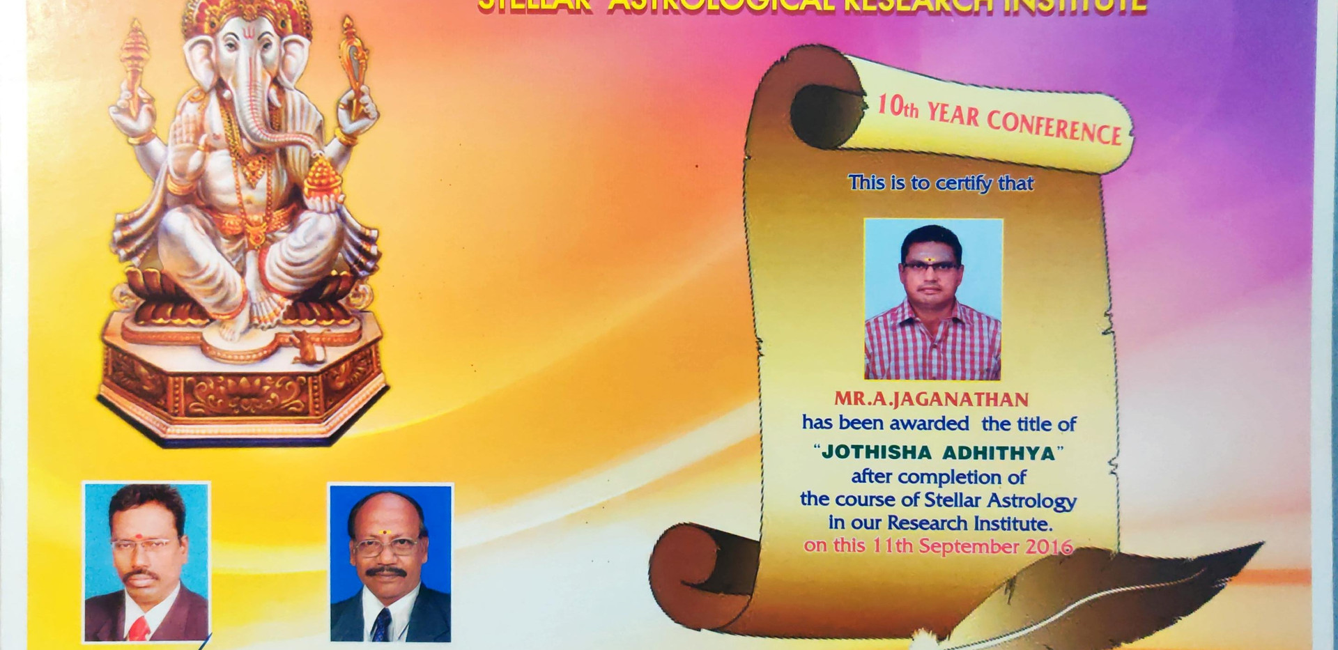Sri Prahaspathi Advanced K.P. Astrology CERTIFICATE