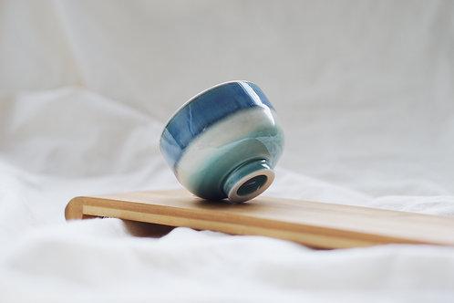 Layer Glazed Ceramic Tea Cup - Lake Blue