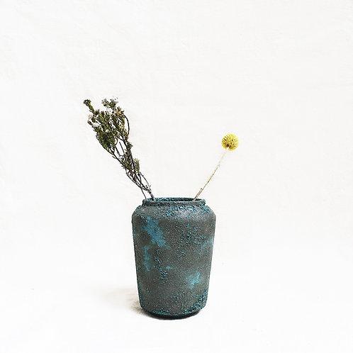 Bubble Glaze Vase - Wide Rim Cylinder (Ocean Blue)
