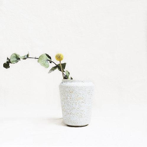 Bubble Glaze Vase - Wide Rim Cylinder (Sand White)