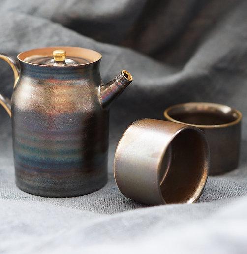 Metallic Glaze Tea Set for 2