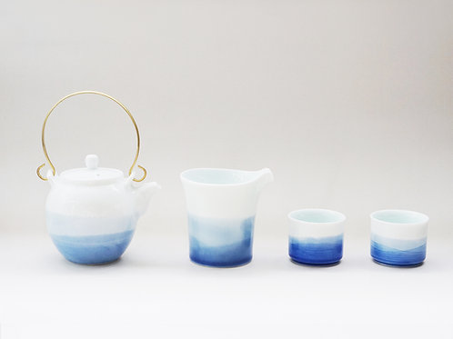 Aqua Blue Dyed Porcelain Tea Set For 2