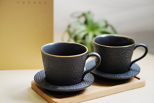 Gold Speckle Black Mug with Saucer Set
