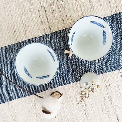 Blue White Tea Bowl Pair-Feather