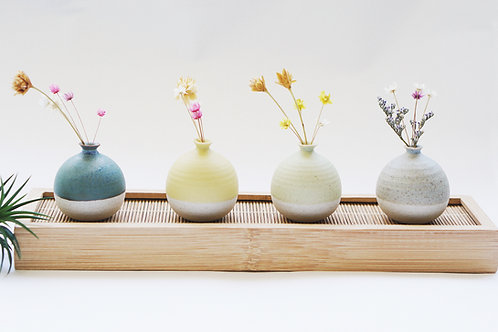 Special Set- 4 Mini Vases with Bamboo Tray