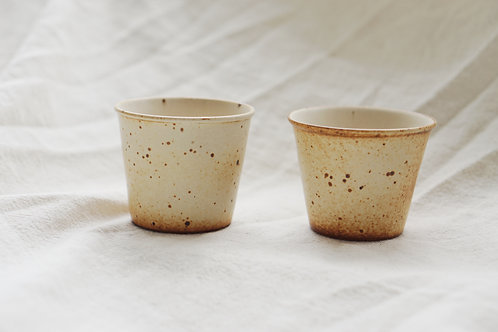 Vintage Speckled Mini Cup - Dotted Orange (Pair)