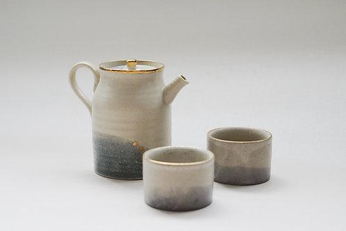 Vintage Faded Denim Stain Tea Set for 2