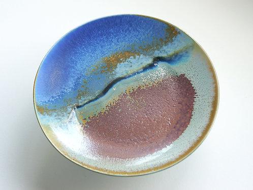 Flambe Glaze Serving Plate-Lakeside Mountain (L)