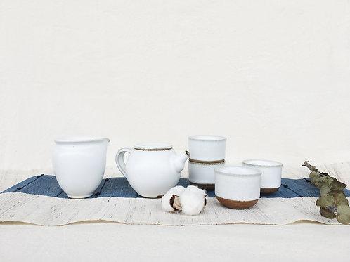 Matte White Tea Set for 4