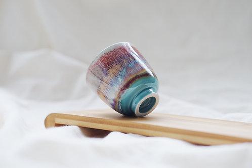 Layer Glazed Ceramic Tea Cup - Red Violet