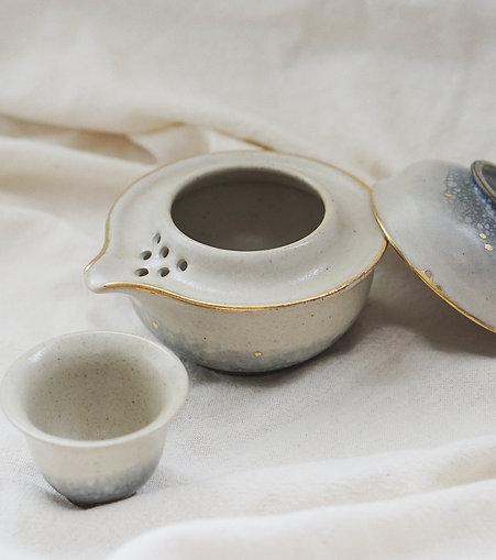 Vintage Faded Denim Stain Travel Tea Set