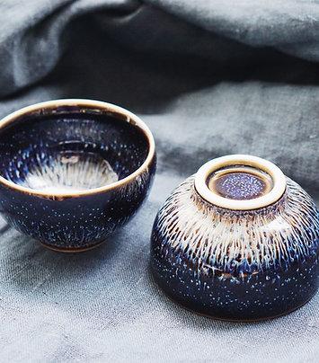 Hare's Fur Tea Bowl- 1 Pair
