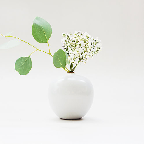 Vintage White Mini Vase- Tiny Apple