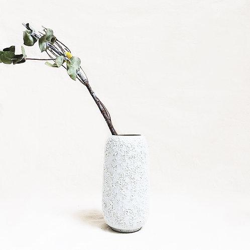 Bubble Glaze Vase - Tall Cylinder (Sand White)