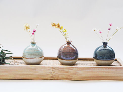 Special Set- 3 Mini Vases with Bamboo Tray