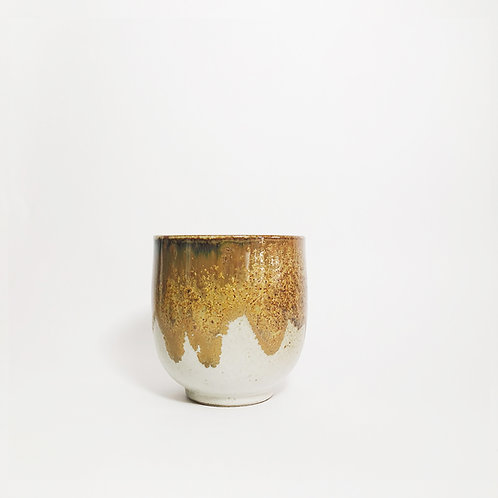 Flambe Glaze Cup- Yellow Splash