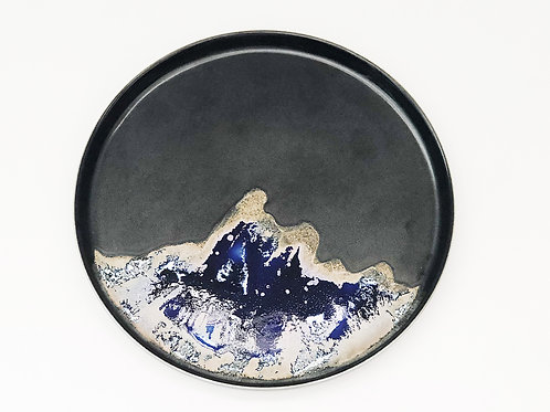 Flambe Glaze Plate-Black with Blue Splash