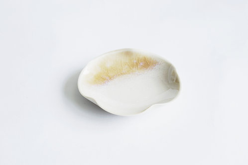Flambe Glaze Mini Tray-Eggshell White