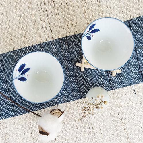 Blue White Tea Bowl Pair-Leaf