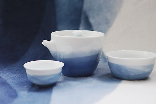 Aqua Blue Dyed Porcelain Travel Tea Set