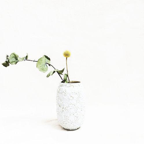 Bubble Glaze Vase - Short Cylinder (Sand White)
