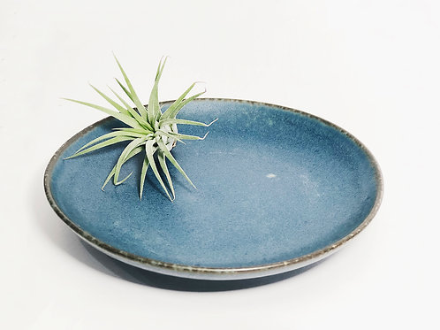 Handmade Glazed Plate - Denim Blue (M)