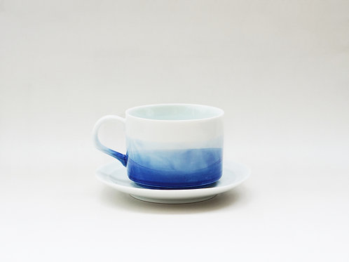 Aqua Blue Dyed Porcelain Coffee Cup