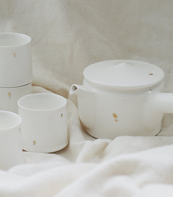 High white with Gold Dots Tea Set for 4