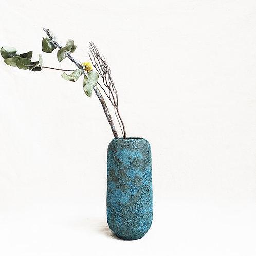 Bubble Glaze Vase - Tall Cylinder (Ocean Blue)