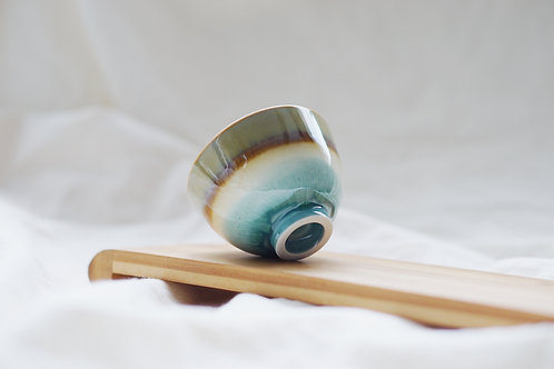 Layer Glazed Ceramic Tea Cup - Light Brown with Turquoise