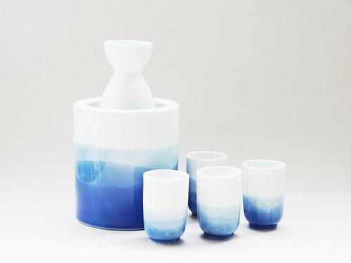 Aqua Blue Dyed Porcelain Sake Set with Warmer