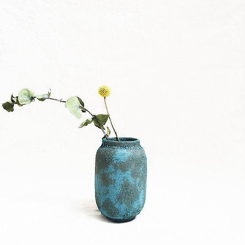 Bubble Glaze Vase - Short Cylinder (Ocean Blue)
