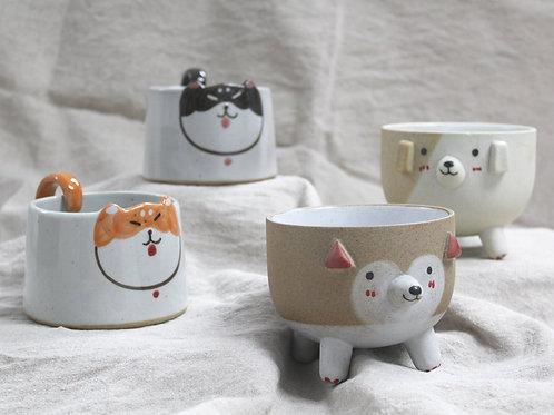 Speckled Ceramic Dog Mugs