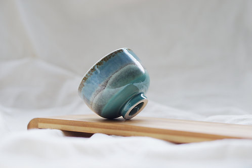 Layer Glazed Ceramic Tea Cup - Salty Blue
