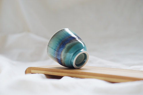 Layer Glazed Ceramic Tea Cup - Watery Blue