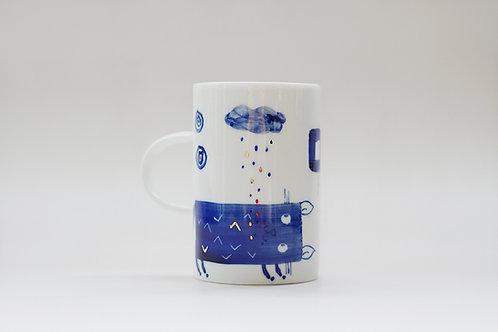 Hand-painted Brush Stroke Tall Mug(c)