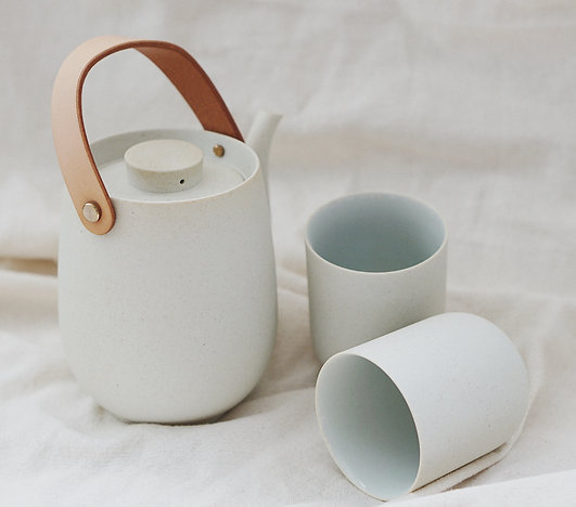 Matt Clay with Leather Handle Tea Set