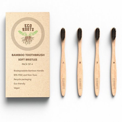 BAMBOO TOOTHBRUSH - Set of 4 - EcoRoots